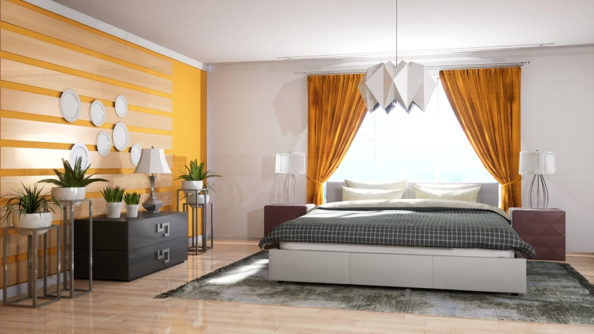 Bedroom Interior Bed 3d Illustration Stock Footage Video 100 Royalty Free 1054735793 Shutterstock