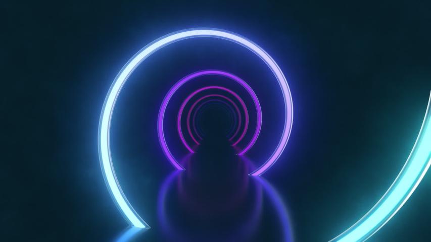 Gradient neon spiral tunnel background. Endless loop. | Shutterstock HD Video #1054736111