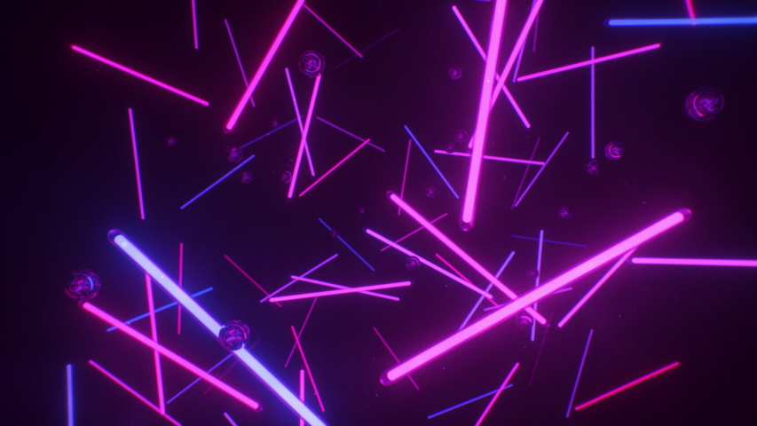 Neon tubes and refective spheres background. Endless loop. | Shutterstock HD Video #1054736180