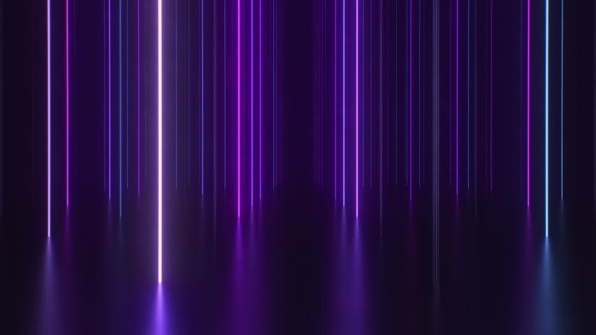 Neon columns and reflective floor background. Endless loop.