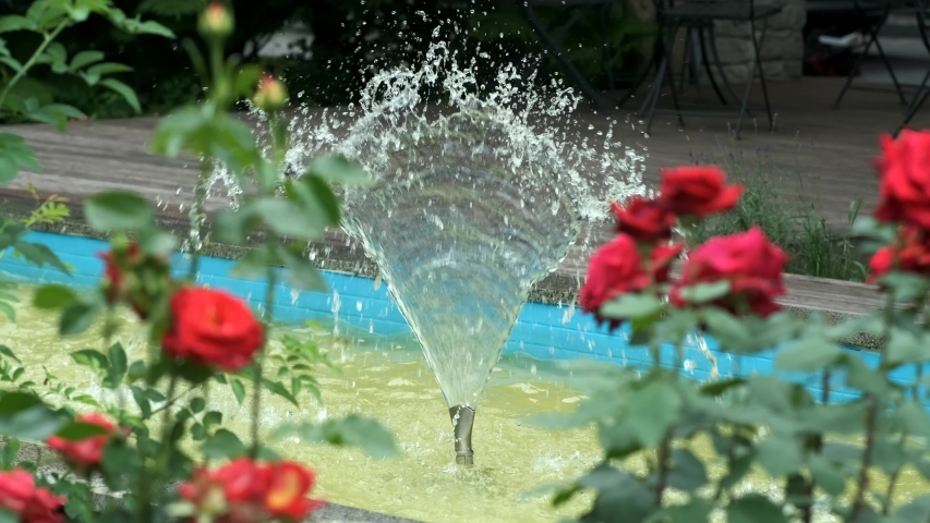 Decorative small fountain in the Park. Blurred red roses in the foreground. Landscape design. | Shutterstock HD Video #1054736366