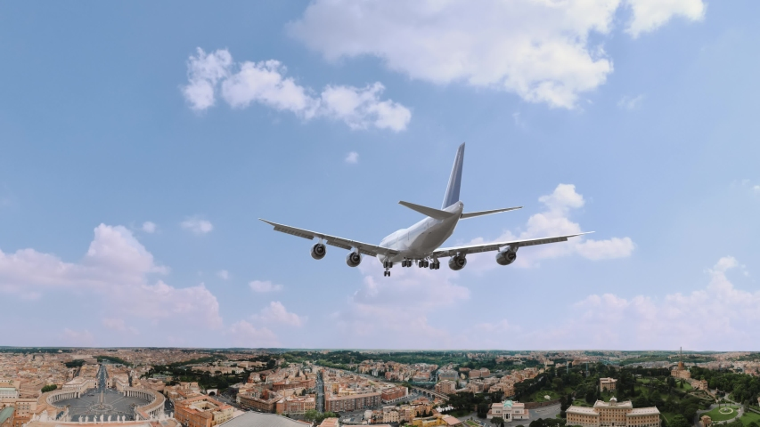 Airplane Landing in Rome Italy | Shutterstock HD Video #1054736987