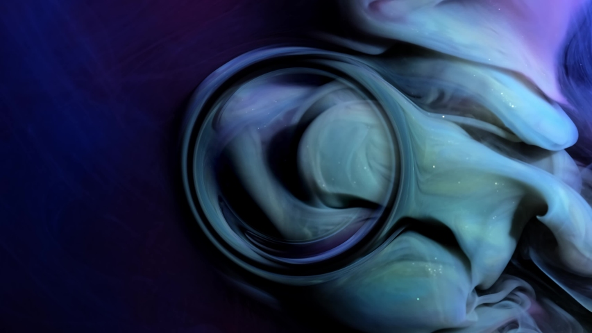 Blue Clouds Ink And Paint Liquid Reaction. abstract background. Circle mixing center | Shutterstock HD Video #1054737200