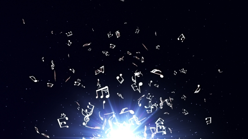 Flying Music Notes Animation, Rendering, Background, Loop, 4k