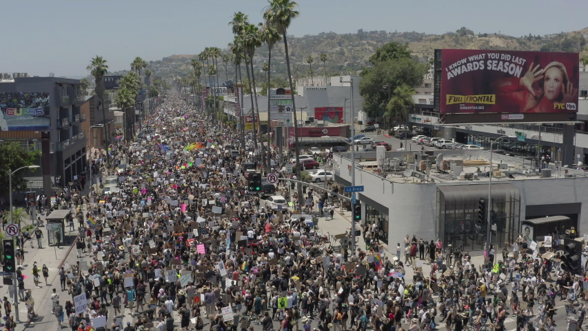 Los Angeles, CA/USA - June 14th, 2020: Massive crowds during Sunday march for Black Lives Matter