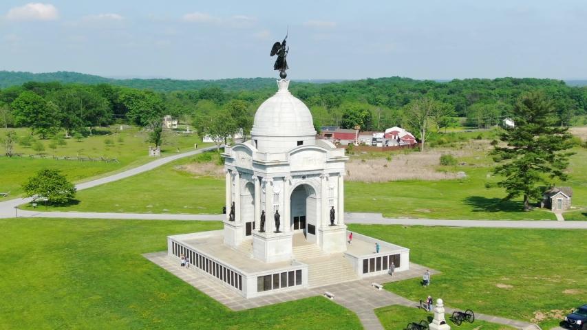 Gettysburg National Military Park, Pennsylvania Monument, aerial drone view of American civil war battlefield