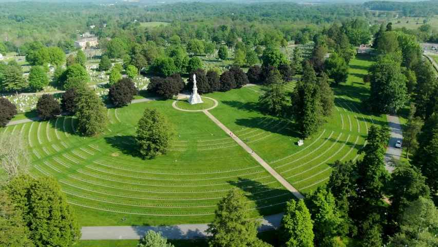 Gettysburg National Cemetery, National Military Park, aerial view of buried war veterans, Memorial Day theme