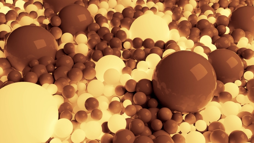 4k 3D seamless loop animation of beautiful small and large spheres or balls cover plane as abstract simple geometric background. Some spheres glow. In one color tone like sepia   Shutterstock HD Video #1054750421