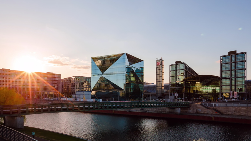Golden Hour Time Lapse of Berlin cityscape with spree river, Berlin, Germany   Shutterstock HD Video #1054750790