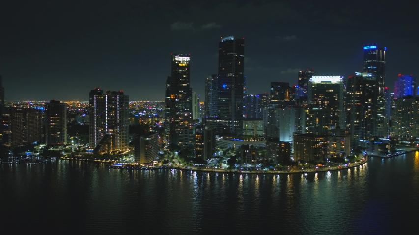 Aerial reveal Brickell Miami city night footage