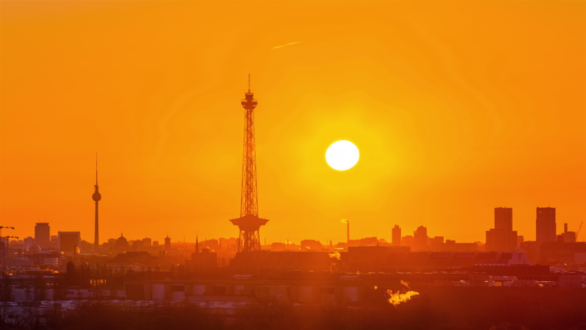 Sunrise Time Lapse of Berlin cityscape, Berlin, Germany