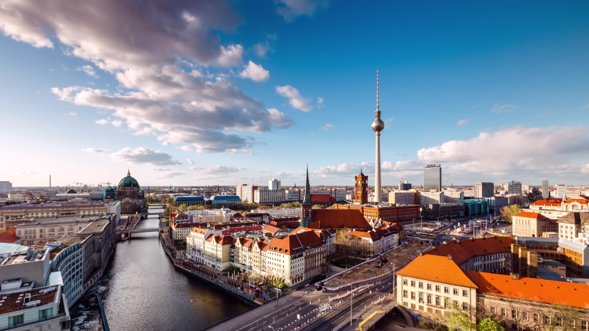 Day to Night Time Lapse of Berlin cityscape with spree river, Berlin, Germany Royalty-Free Stock Footage #1054758587