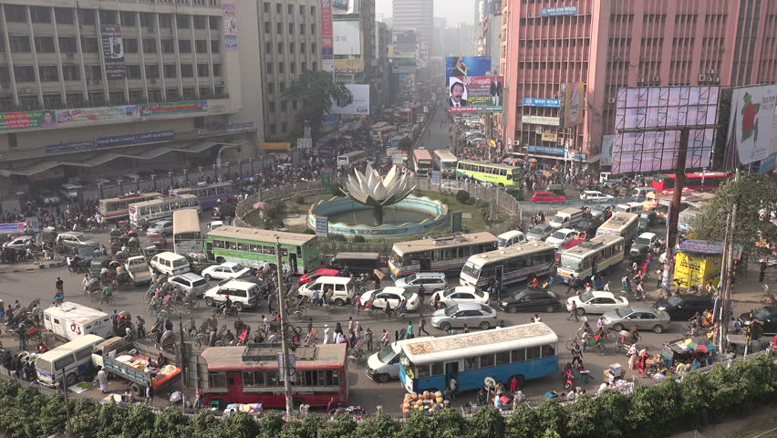DHAKA, BANGLADESH - 28 DECEMBER 2014: Major traffic jam in Motijheel, the business and finance district in Dhaka.
