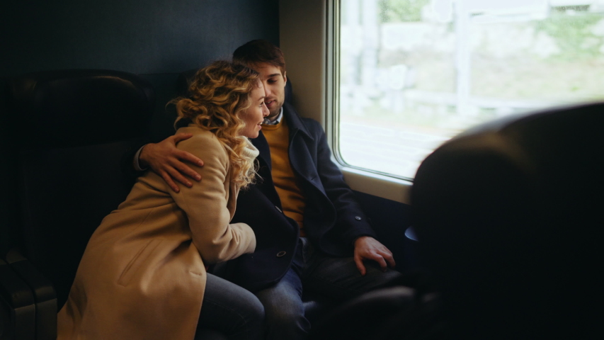 MS Couple traveling by train / Florence, Italy, People, Transportation