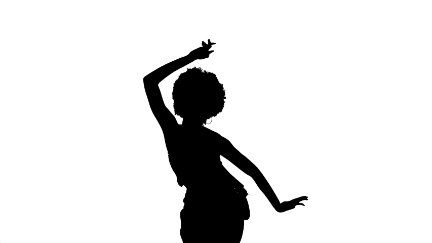 Cropped back view of a woman with Afro hairstyle dancing, sensually moving her body and hands. Booty style dance. Isolated, black and white, silhouette