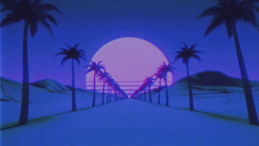 Vintage VHS noise and glitch effects. Retro futuristic animation. Sunset sun above horizon. Camera moves forward palm tree alley. Mountains and hills above the road. Retro wave, synthwave 80s, 90s   Shutterstock HD Video #1054771988