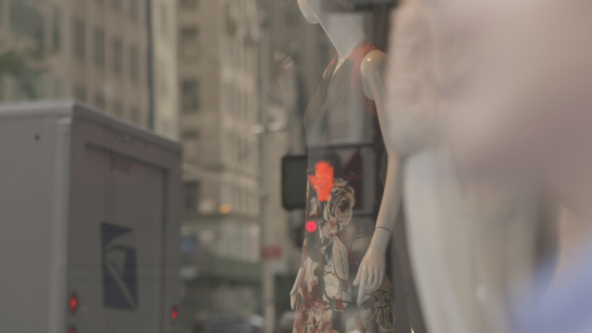 NEW YORK, NY, USA, people passing by the fashion store which mannequins displayed | Shutterstock HD Video #1054791044