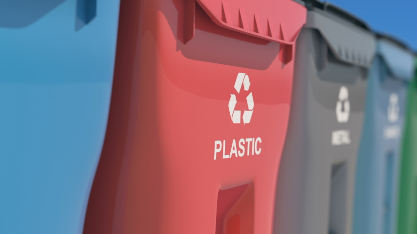 Plastic bins, garbage cans, recycling. Colored boxes, waste sorting, metal, plastic, glass, bulbs, organic. Colorful waste, with recycling sign. Saving the natural environment. An ecological approach