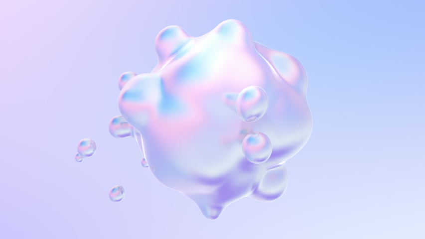 Holographic liquid blobs abstract flowing animation. 4K abstract background loop with alpha matte.  | Shutterstock HD Video #1054811189