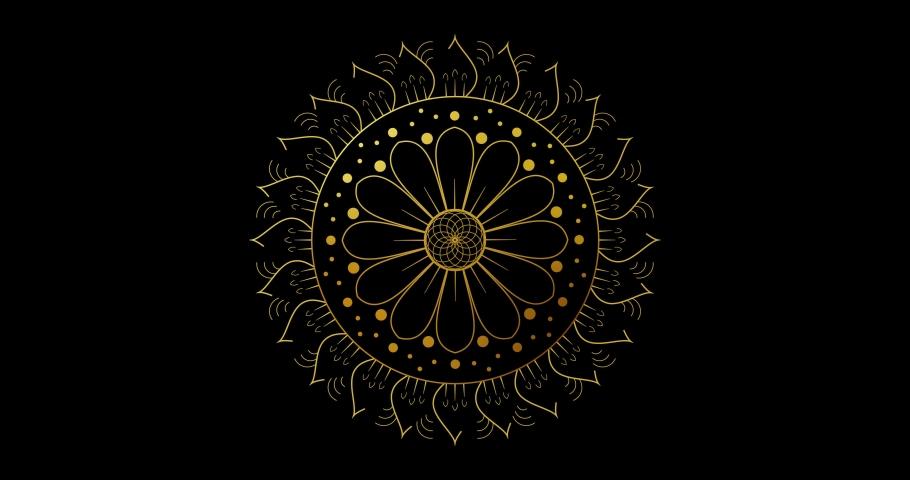Abstract ornamental digital hand drawn gold color mandala footage. Floral vintage decorative elements oriental islam pattern