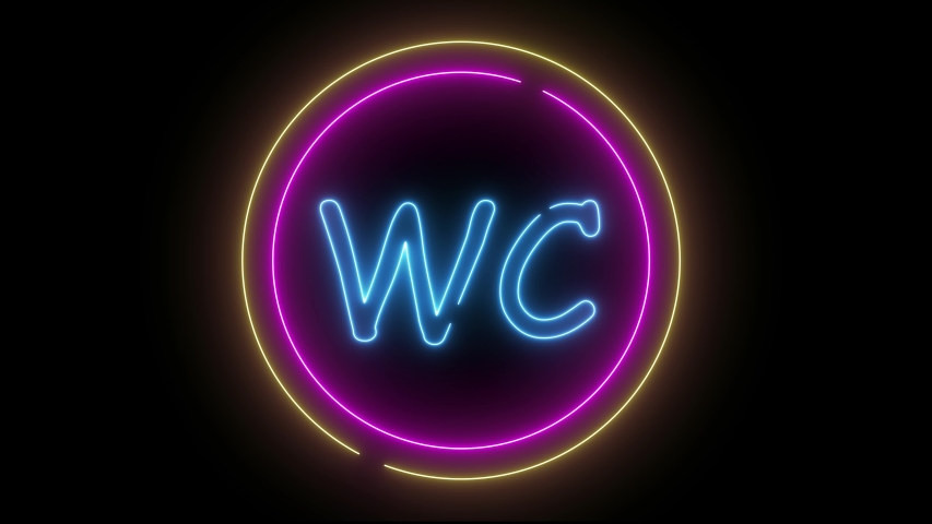 Аnimation neon sign WC on black background in looped concept animation. | Shutterstock HD Video #1054819607