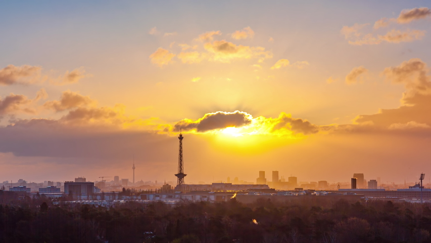 Night to Day Time Lapse of Berlin cityscape, Berlin, Germany