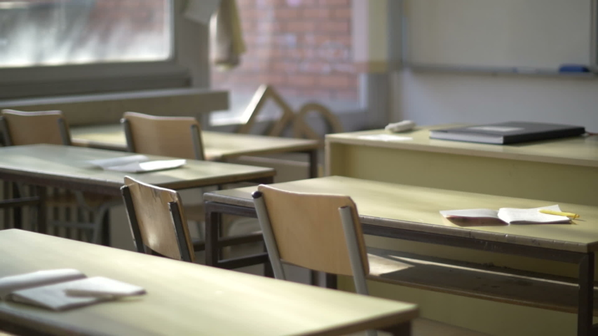 School is closed, Empty classroom Royalty-Free Stock Footage #1054833227