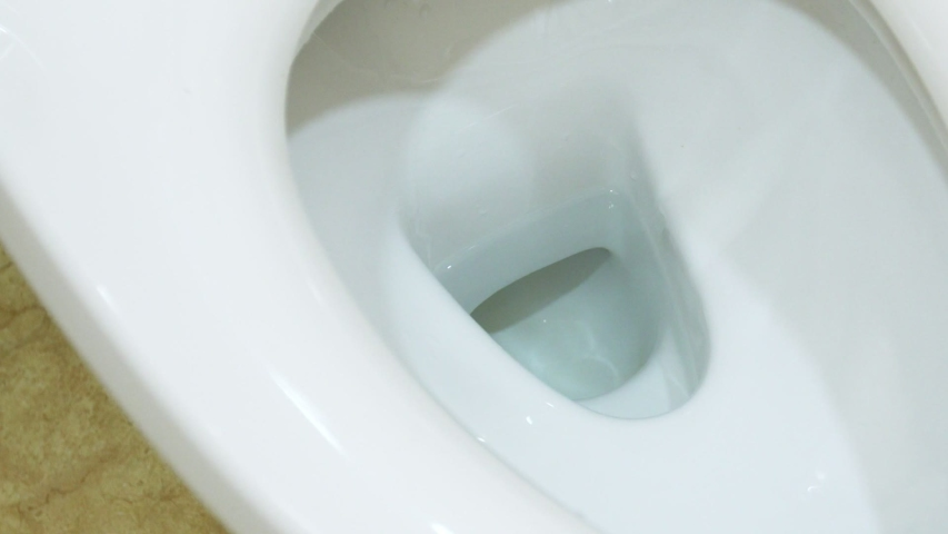 White toilet bowl in a wc. Closeup. Flush water away | Shutterstock HD Video #1054835417
