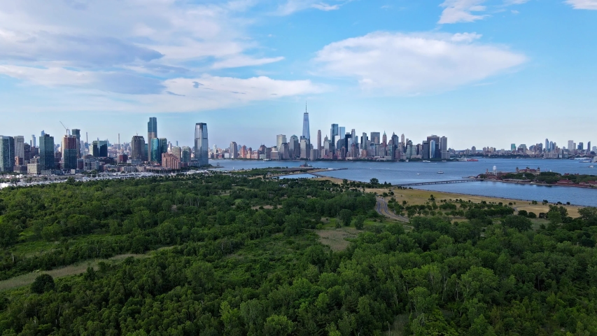 Aerial view of New York City and Jersey City from the Liberty State Park, NJ Royalty-Free Stock Footage #1054840562