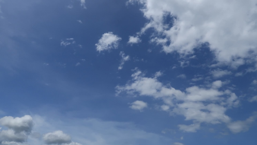 Summer clear blue sky TimeLape with tropical white puffy fluffy clouds & cumulus cloudscape moving fast on sunny daylight horizon in warm weather & hot sunlight or sun rays at beautiful sunshine day