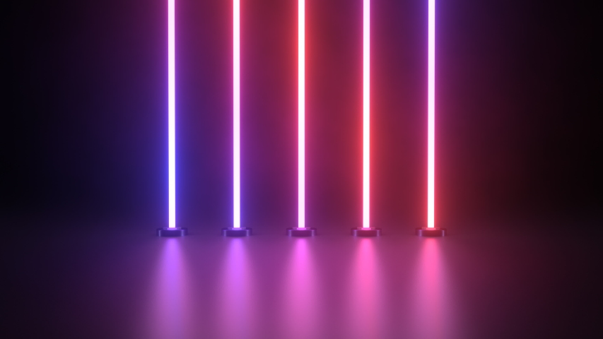 Beautiful 3D Ultraviolet Glowing Neon Line Fluorescent Laser Lights - 4K Seamless Loop Motion Background Animation Royalty-Free Stock Footage #1054847690