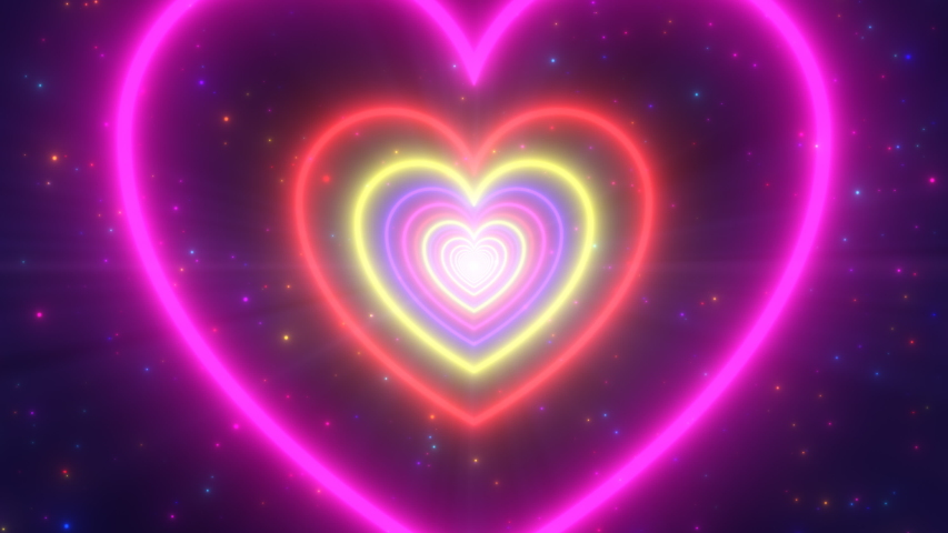 Neon Lights Love Heart Tunnel and Romantic Abstract Glow Particles - 4K Seamless Loop Motion Background Animation