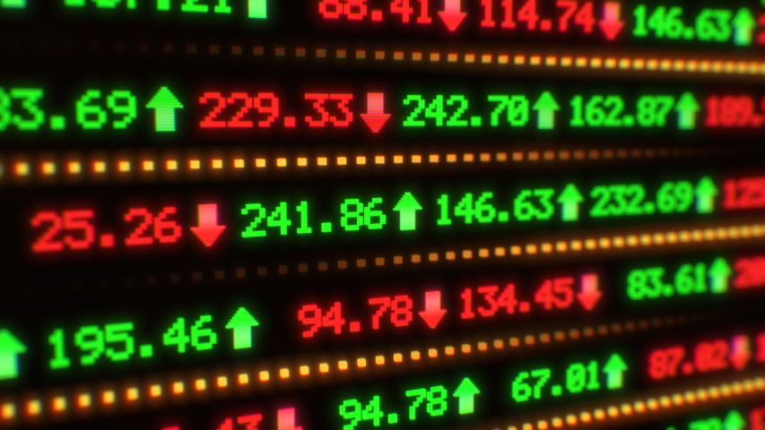 Moving Stock Market Tickers Finance Data Numbers Changing Quickly - 4K Seamless Loop Motion Background Animation