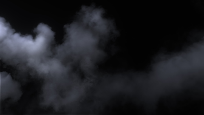 Spooky magic halloween. 450+ frames of steamy smoke in slow motion against back screen. Atmospheric smoke VFX element. Haze background. Abstract smoke cloud. Smoke in slow motion on black background.