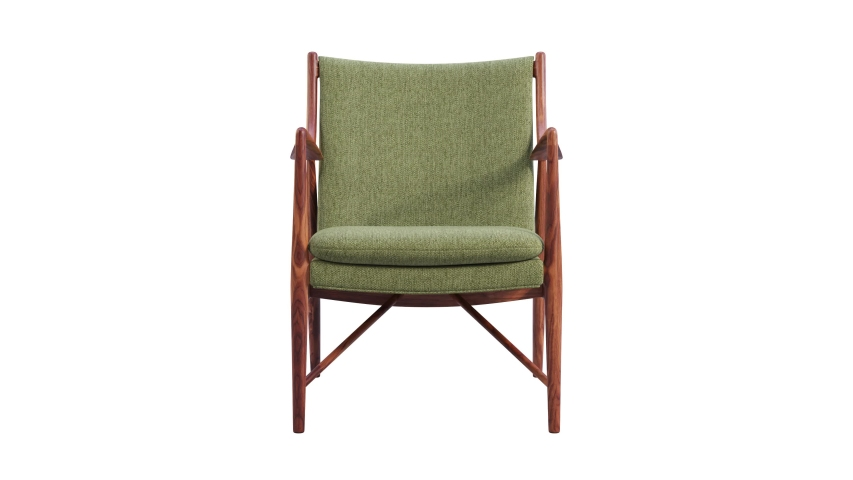 Circular animation of green fabric chair with wooden legs on white background. Mid-century modern wooden frame chair. Turntable 3d render Royalty-Free Stock Footage #1054855982