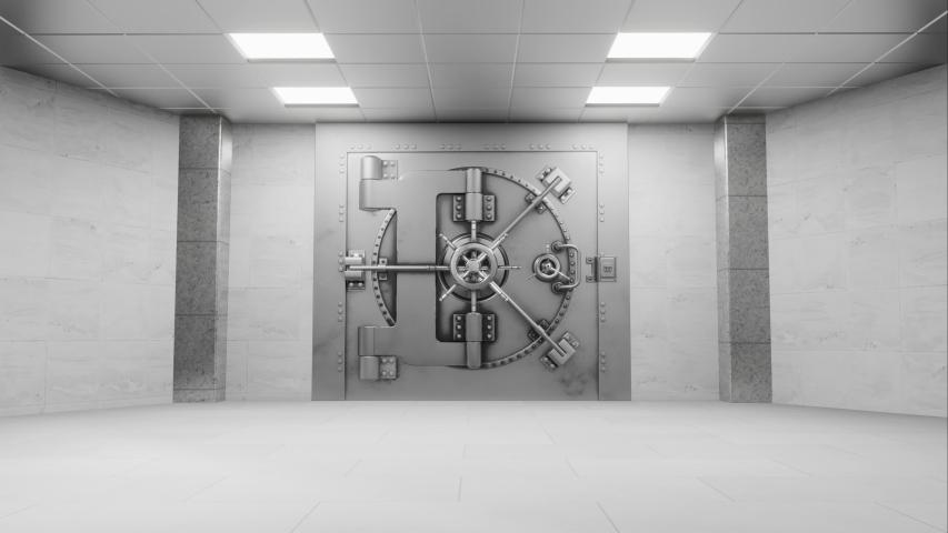 Bank vault door opening animation. Royalty-Free Stock Footage #1054857389