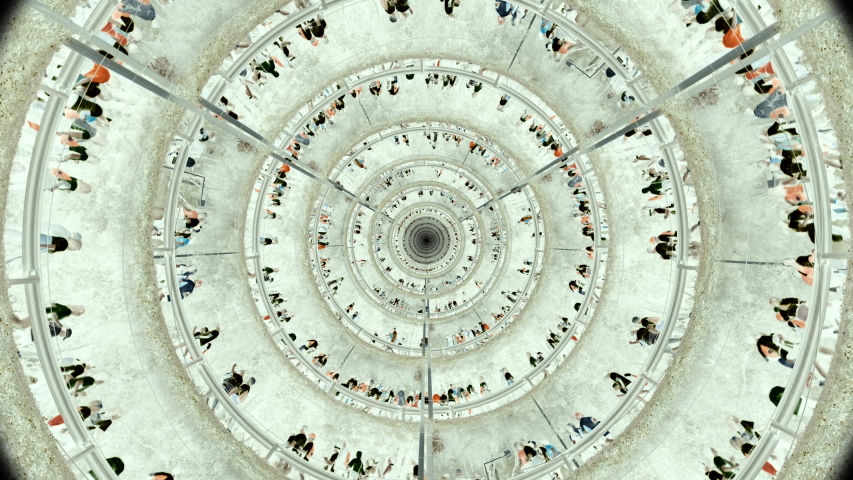 People Running In Circular Tunnel Zoom In. Many layers of crowds of people running in all directions. Maze Runners