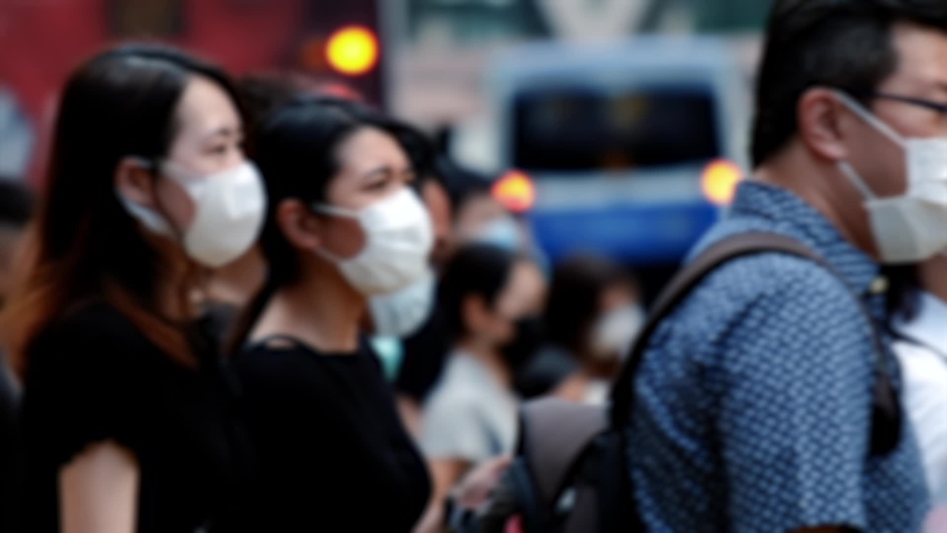 Slow motion of unrecognized people wearing medical face masks in Hong Kong. Coronavirus concept | Shutterstock HD Video #1054869473