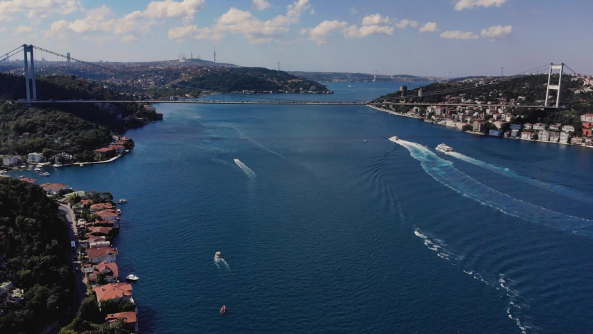 Aerial view of Bosphorus Bridge in Istanbul. Drone footage of city landscape. Between European and Asian Continents 4K shooting video | Shutterstock HD Video #1054875131