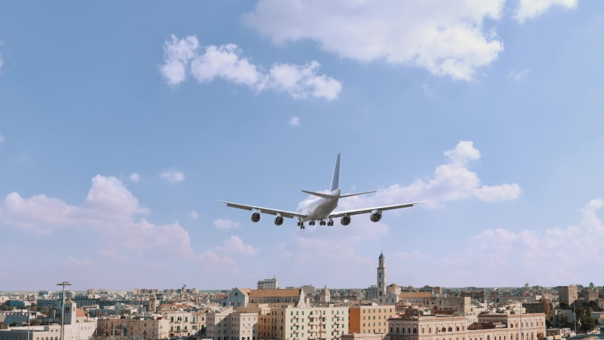 Airplane Landing in Bari Italy