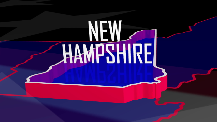 Graphic fly into New Hampshire on colorful animated map of the United States of America.
