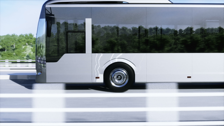 3d model of passenger bus very fast driving on the highway. Futuristic city background. 3d rendering. Royalty-Free Stock Footage #1054887428
