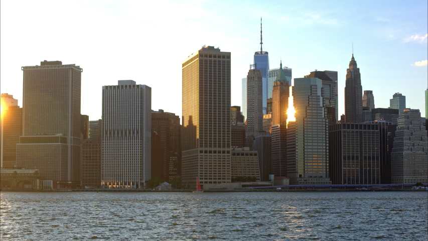 Time Lapse of Manhattan view from Brooklyn at magic hour.  | Shutterstock HD Video #1054894277