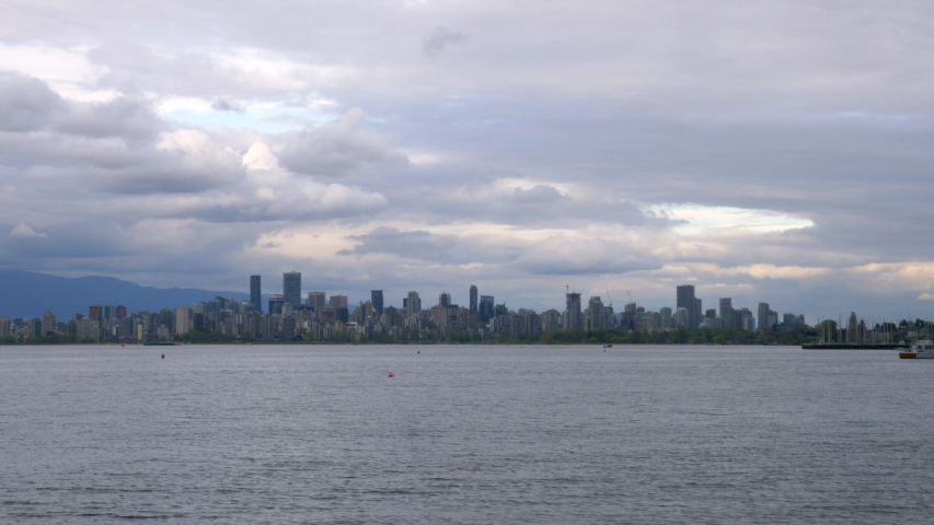 Calm Ocean With Downtown Skyline And Vancouver Harbour On The Background, View From Burnaby, BC, Canada On A Cloudy Day. - timelapse | Shutterstock HD Video #1054895330