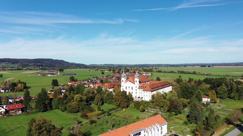 Aerial view Monastery of the Salesians or Beuerberg Monastery, Eurasburg, Tolzer Land, Upper Bavaria, Bavaria, Germany | Shutterstock HD Video #1054915415