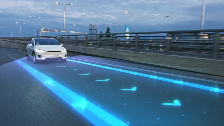 Autonomous Self Driving Car Moving Through City, Overtaking Other Vehicles. Animated Scanning Visualization Concept: Artificial Intelligence Digitalizes and Analyzes Road Ahead. Moving Frontal View
