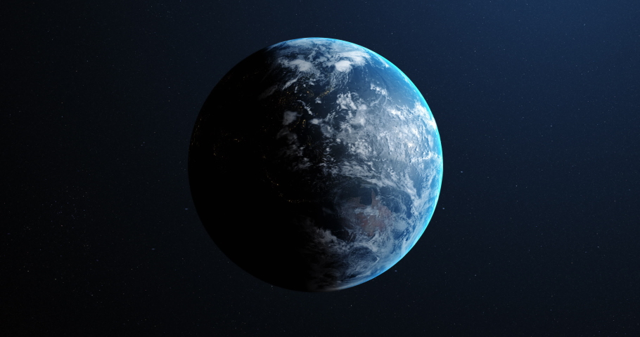 Animation of Earth seen from space, the globe spinning on satellite view on dark background. Global space exploration space travel concept digitally generated image. 4k | Shutterstock HD Video #1054918757