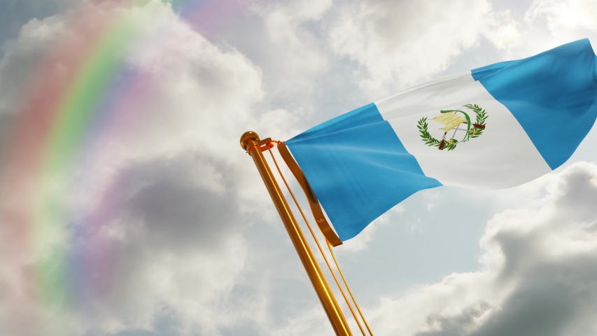 Flag of Guatemala Waving in the wind, Cloudy and Rainbow Background, Slow Motion, Realistic Animation, 4K UHD 60 FPS Slow-Motion