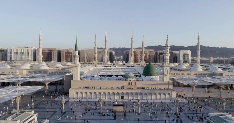 Al Masjid an Nabawi, Medina Royalty-Free Stock Footage #1054925132