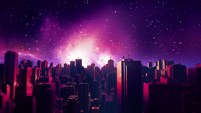 Retro futuristic city flythrough seamless loop. 80s sci-fi synthwave landscape in space with stars. Looping vaporwave stylized VJ 3D animation for EDM music video, videogame intro. 4K motion design | Shutterstock HD Video #1054926536